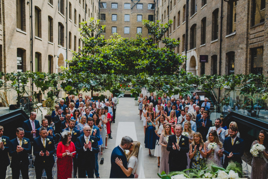 a wide angle shot of a wedding at Devonshire Terrace London